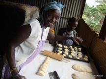Selina making cinnamon roles.